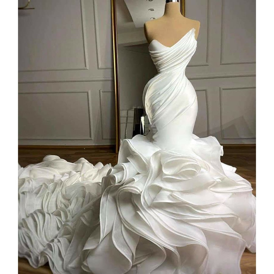 Strapless ruffles wedding dress mermaid for black brides - LiveTrendsX