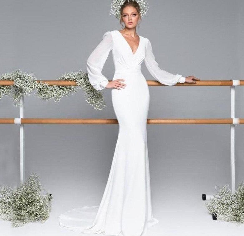 new neck satin chiffon lantern long sleeve ivory mermaid wedding dresses simple abito da sposa Sweep Train - LiveTrendsX
