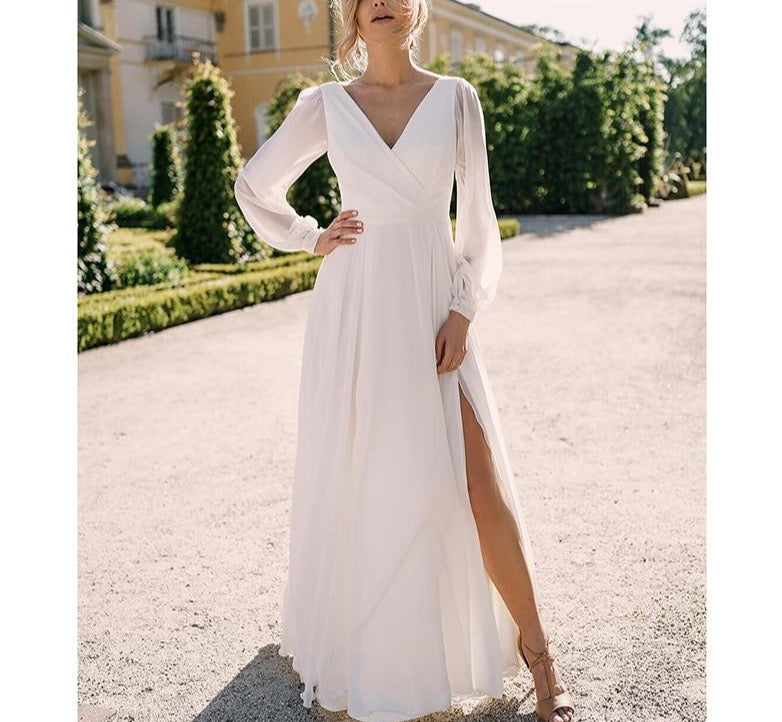 Simple Bohemian Wedding Dress 2021 Long Sleeve V-Neck Floor Length Chiffon A-Line Bridal Gowns With Charming For Women - LiveTrendsX