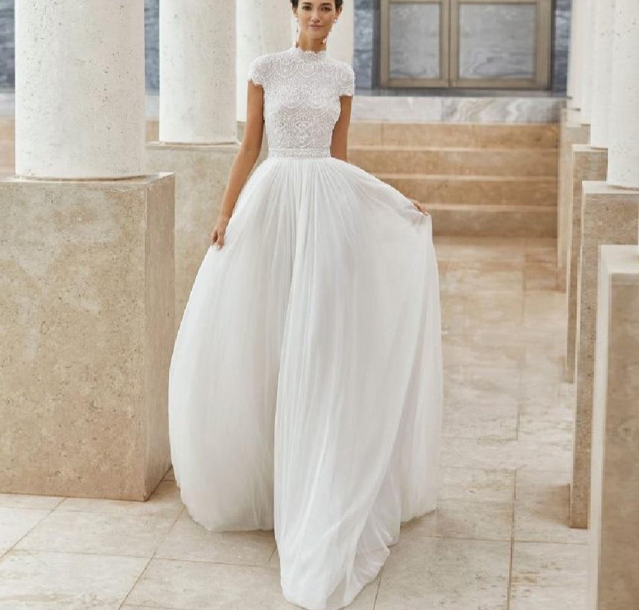 A Line Wedding Dress Hochzeit Chic Boho Bridal Receipt Wedding Gowns High Neck Lace Beach Wedding Dresses - LiveTrendsX