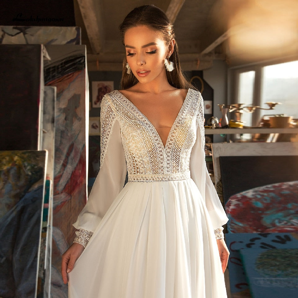 Puffy Long Sleeve Dress Women Boho Wedding Dresses 2021 Vestido Sexy Bridal Wedding Gown V-Neck Backless Lace Bodice - LiveTrendsX