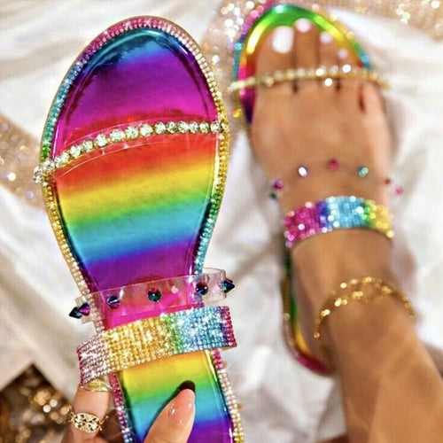 Rainbow Colored Crystal Women Slippers - LiveTrendsX