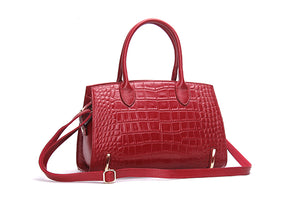 Fashion Women Bags Genuine Leather Handbags Alligator High Quality Zipper Design Black Red Lady Office Bags - LiveTrendsX