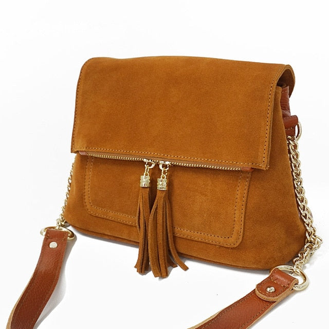 Women Genuine Leather Fringe Shoulder Bags Fashion Cow Suede Tassel Brown Chain Multi Pockets Crossbody Bucket Bags - LiveTrendsX