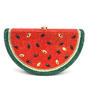 Luxury Crystal bag Watermelon Pattern Evening Bag Diamond Luxury Crystal Clutch Bag Lovely Fruit Ladies Party Purse Handbag 321 - LiveTrendsX