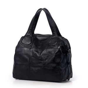 Casual Large Genuine Leather Bag Women Big Shoulder Bags Black Zipper Ladies Bag Bolsas Femininas High Quality Top-Handle Bags - LiveTrendsX