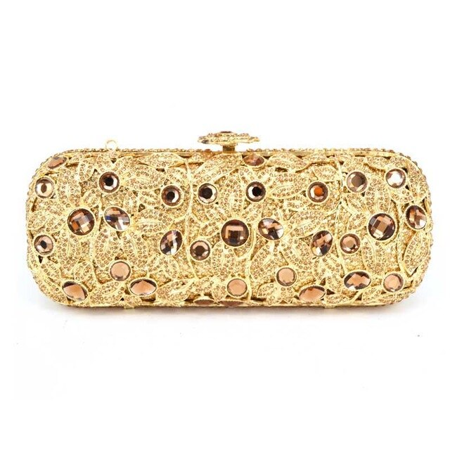 long plated Gift Box ladies evening bag Gold clutch purse party women pochette bag luxury Diamond crystal Clutch Bag - LiveTrendsX