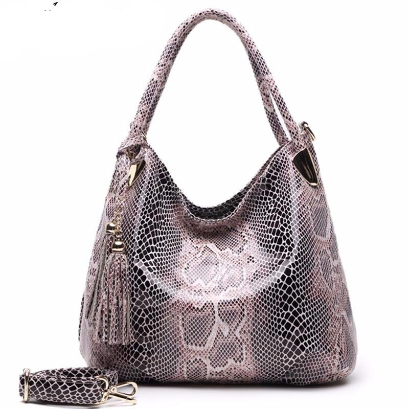 BIG SALE*Individual Fashion Snake Designer Big Capacity Lady Bags New Tassel Embossed PU Leather Cross Body Handbags Women - LiveTrendsX