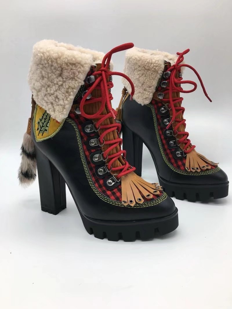 Winter New Sexy Chunky high heel Platform Ankle Boots Women Wool Fur Leather lace up Snow Boots Women Motorcycle Boots