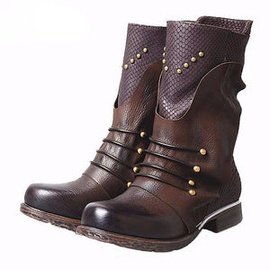 Fashion Rivet Genuine Leather Women's Shoes Winter Ankle Boots - LiveTrendsX
