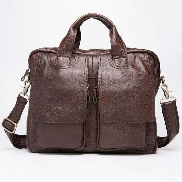 Genuine Leather Men's Handbag luxury design Cross body Bag High quality Tote bags Fashion Men Business briefcase - LiveTrendsX