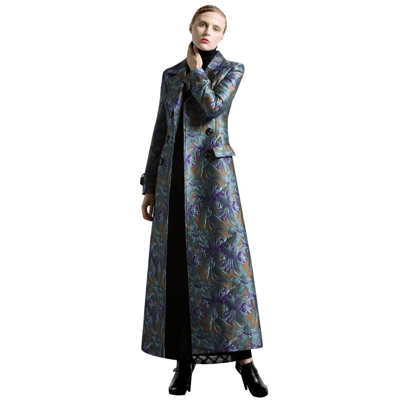 S-XXXL Autumn Winter Jacquard Long Coat Florals Plus Size Luxury Trench Women Double Breasted Muslim Style Outwear Coat - LiveTrendsX