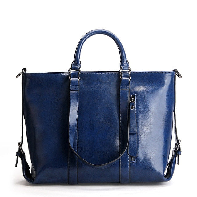Ladies Genuine Leather Bags Big Oil Wax Office Tote Vintage Briefcase Female Handbags Shoulder Messenger Bags For Women - LiveTrendsX
