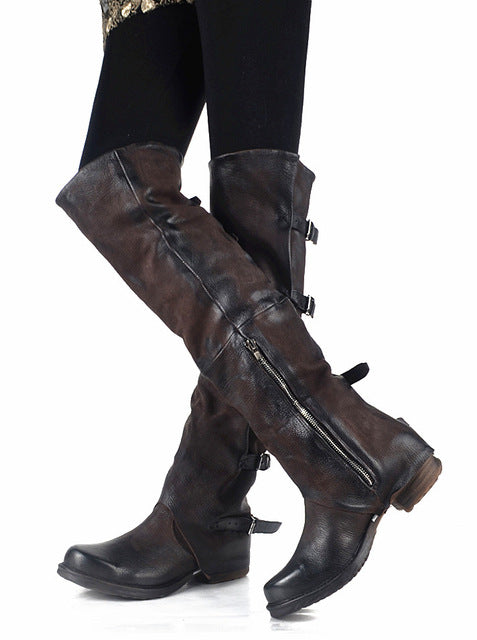 New Women Over The Knee Boots Vinatge Winter Riding Boots Flat Shoes Woman Platform Botas Zipper Buckle Boot