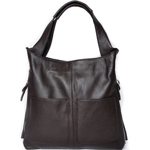 New Genuine Leather Bag Ladies Cowhide Large Capacity Tote Bag Sac A Main Famous Design Lady Black Crossbody Bags - LiveTrendsX