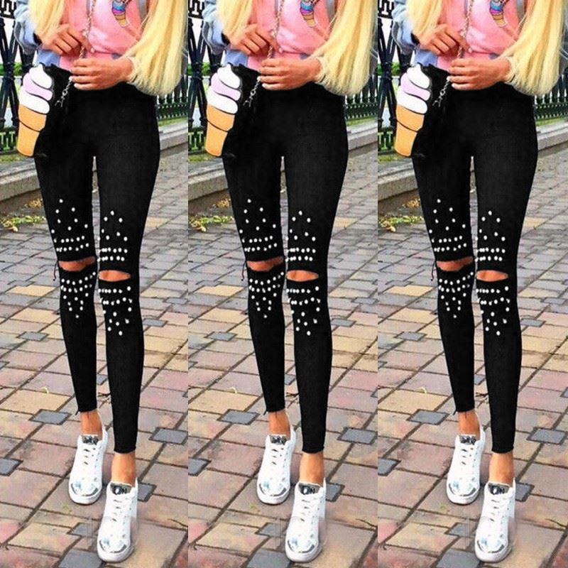 Plus Size Leggings Knee Hole Leggings New Fashion Stretch Cut Holes Beads Decoration Women Pants Skinny High Waist Leggings - LiveTrendsX