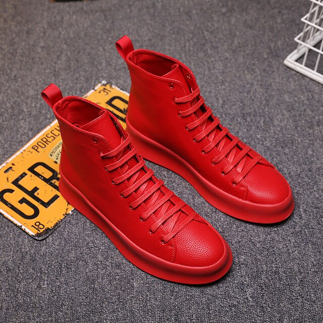 Spring New Style Fashion Ankle Boots Men Red White Shoes Handmade Genuine Leather Luxury Personalized Original Design Boots - LiveTrendsX