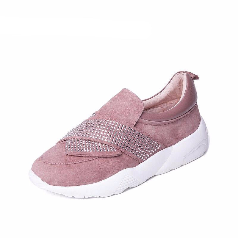 new genuine leather casual flat shoes woman Platform slip-on white outsole black pink khaki spring summer 35-40 size - LiveTrendsX