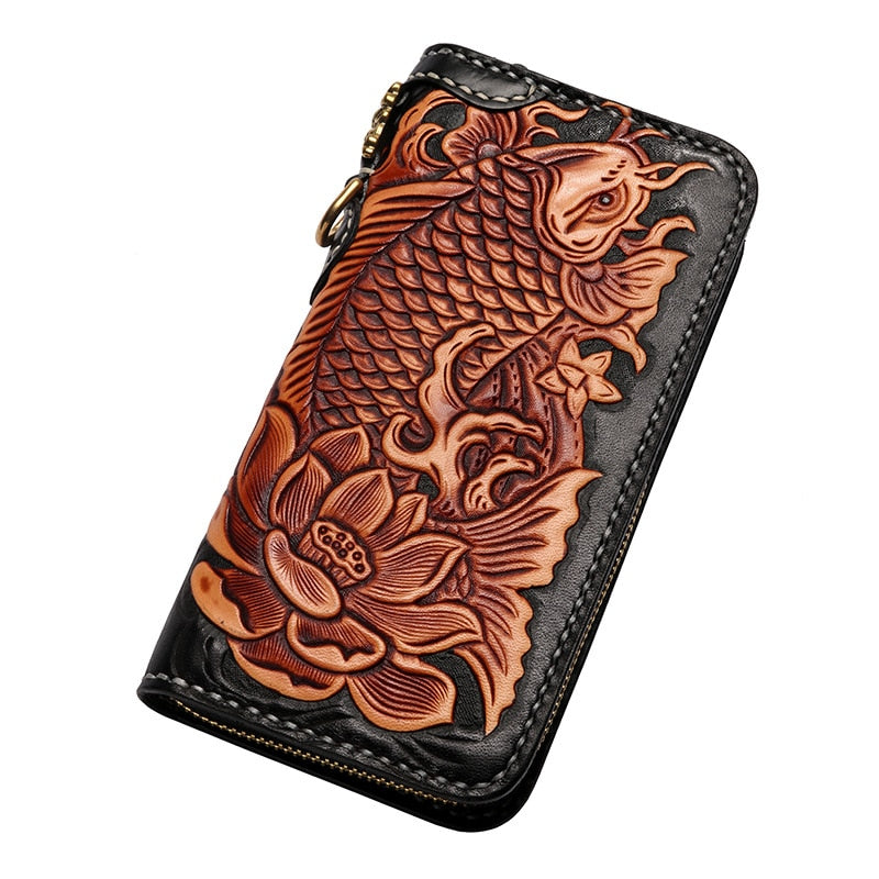 Genuine Leather Wallets Carving Carp Lotus Hand Sewing Zipper Bag Purses Women Men Long Clutch Vegetable Tanned Leather Wallet - LiveTrendsX