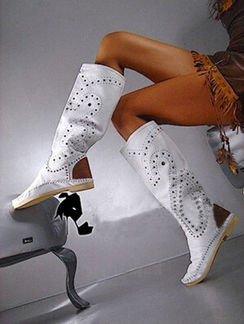 Top Fashion Rivets Studded Knee High Suede Leather Winter Boots Round Toe Flat Heel Woman Shoes High Quality Hottest Boots - LiveTrendsX