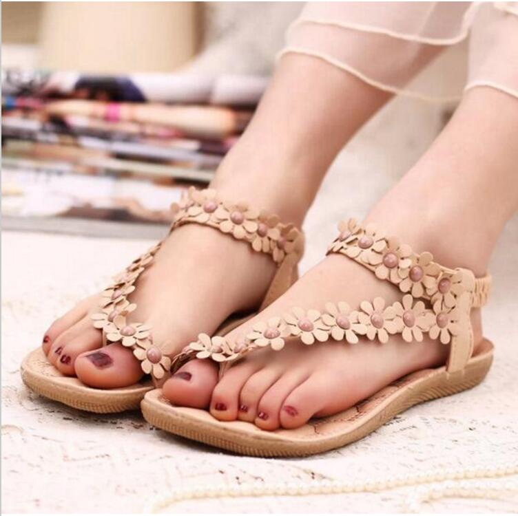 New Fashion Women Shoes Flats Sandals Female Girl Casual PU Leather Flower Floral Beach slides