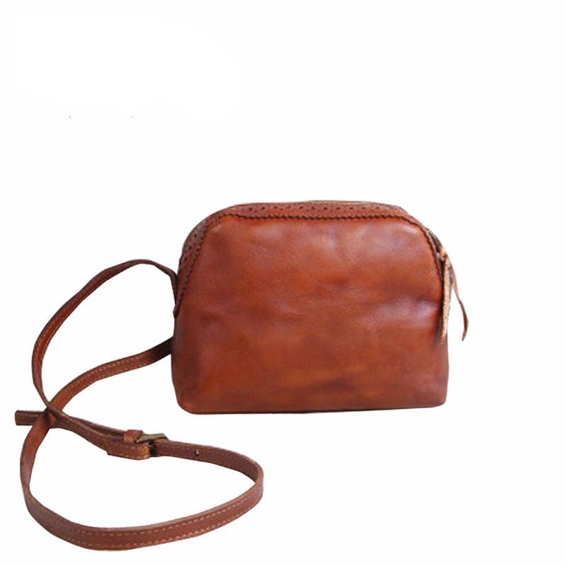 Women Handmade Handbags Leather Retro Mini Shoulder Messenger Bag Cowboy Arts Small Bag - LiveTrendsX