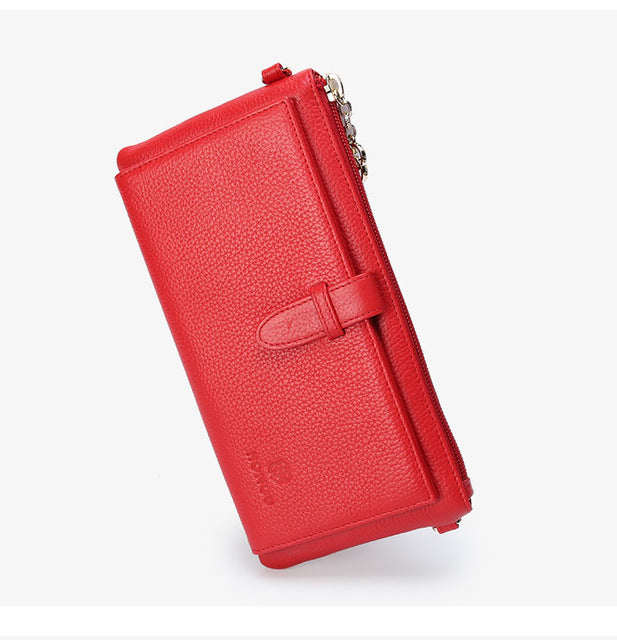 Women Credit card holder Genuine Leather wallet female long zipper multi-function clutch chain slung soft leather clutch bag - LiveTrendsX