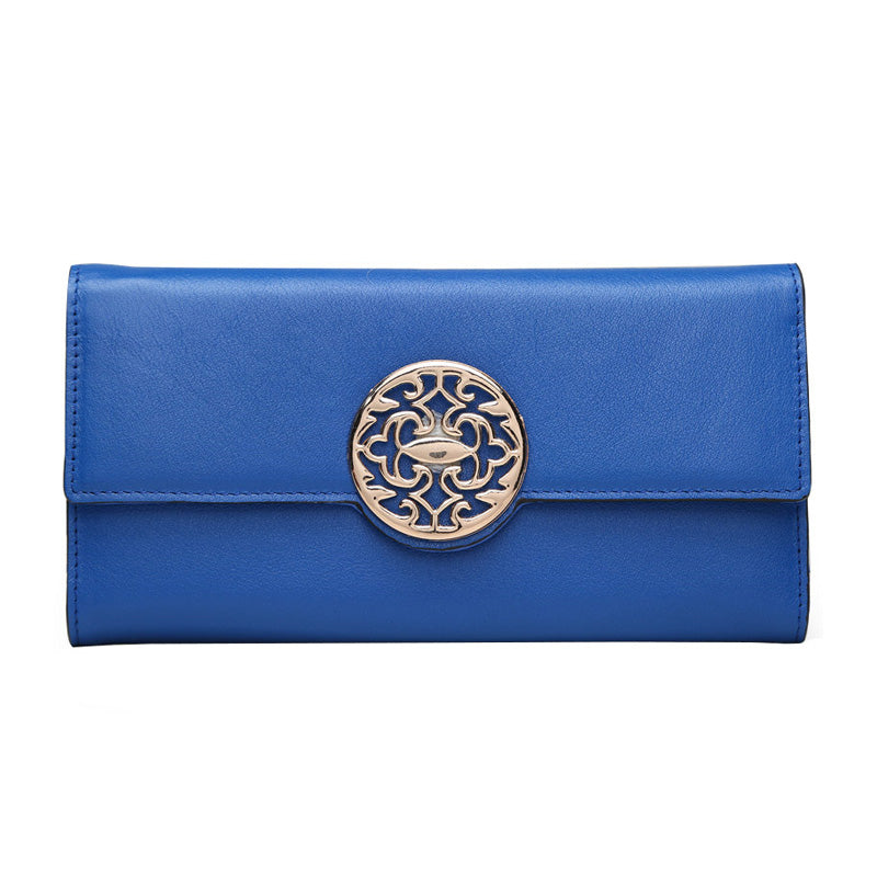 Fashion Genuine Leather wallet women luxury brand long simple Calfskin wallets personalized multi-function sequins clutch purse - LiveTrendsX