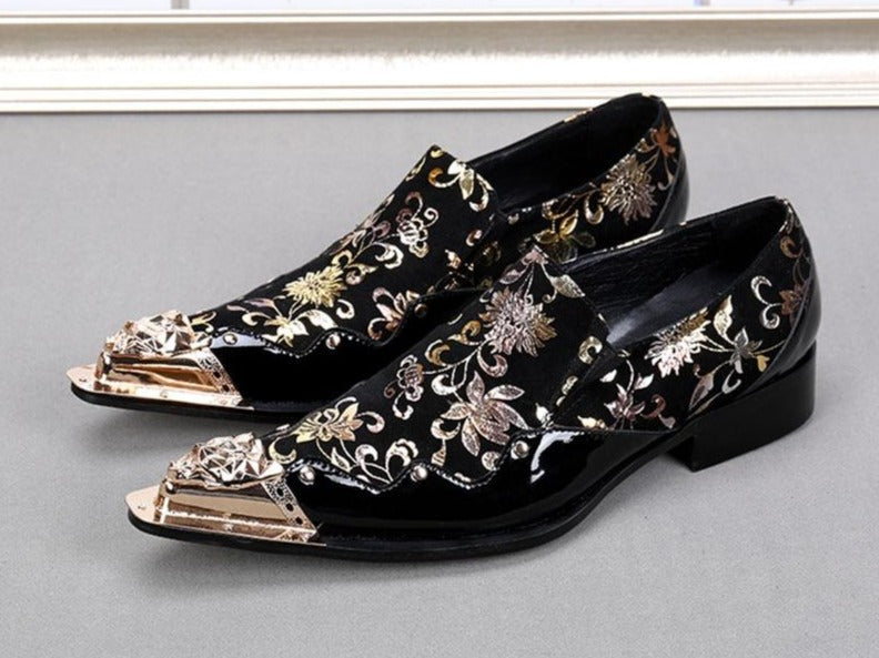 Black color with Golden Flowers men leather shoes Banquet and Party men handmade Oxfords Plus size male dress Shoe - LiveTrendsX