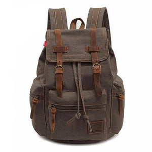 New fashion men's backpack vintage canvas backpack school bag men's travel bags large capacity travel laptop backpack bag - LiveTrendsX