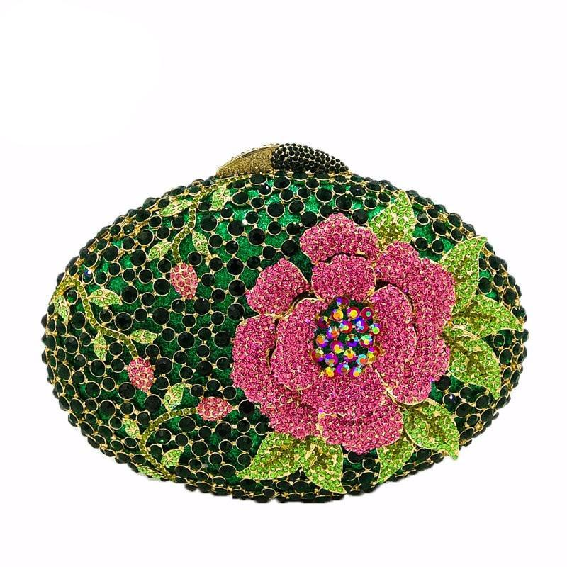 Hollow Out Rose Flower Green Crystal Women Evening Clutch Minaudiere Bag Wedding Cocktail Party Handbag Purse - LiveTrendsX