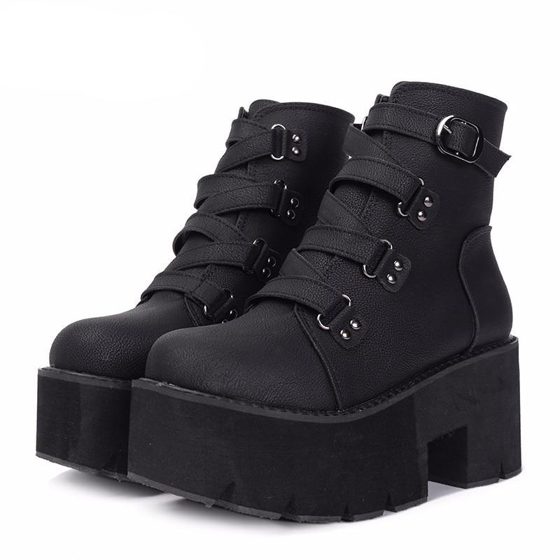 Spring Autumn Ankle Boots Women Platform Boots Rubber Sole Buckle Black Leather PU High Heels Shoes Woman Comfortable - LiveTrendsX