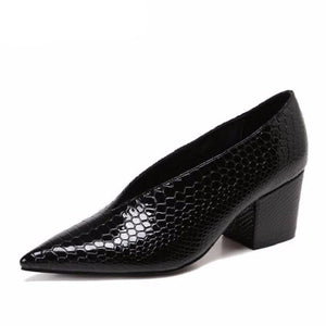 Crocodile Pattern Designer Vintage Evening Shoes Ladies Fashion Pointed Toe V Cut Woman Shoes High Heel Pumps Sexy C076 - LiveTrendsX