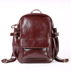 Fashion High Quality Black Coffee Brown Split Leather Cute Women Backpacks For Girl Woman Travel Bags M8090 - LiveTrendsX