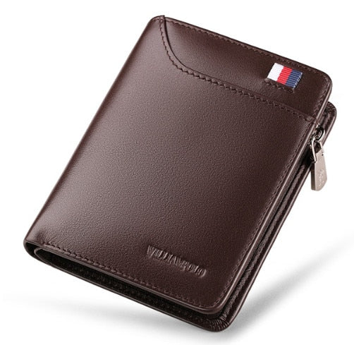 Genuine Leather Men Wallet with Card Holder Man Luxury Short Wallet Purse Zipper Wallets Casual Standard Wallets - LiveTrendsX