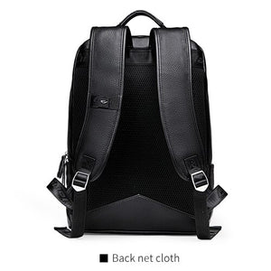 Men's Backpack Simple High Quality Leather Backpack Male Leather Fashion Trend Youth Leisure Travel Computer Bag - LiveTrendsX