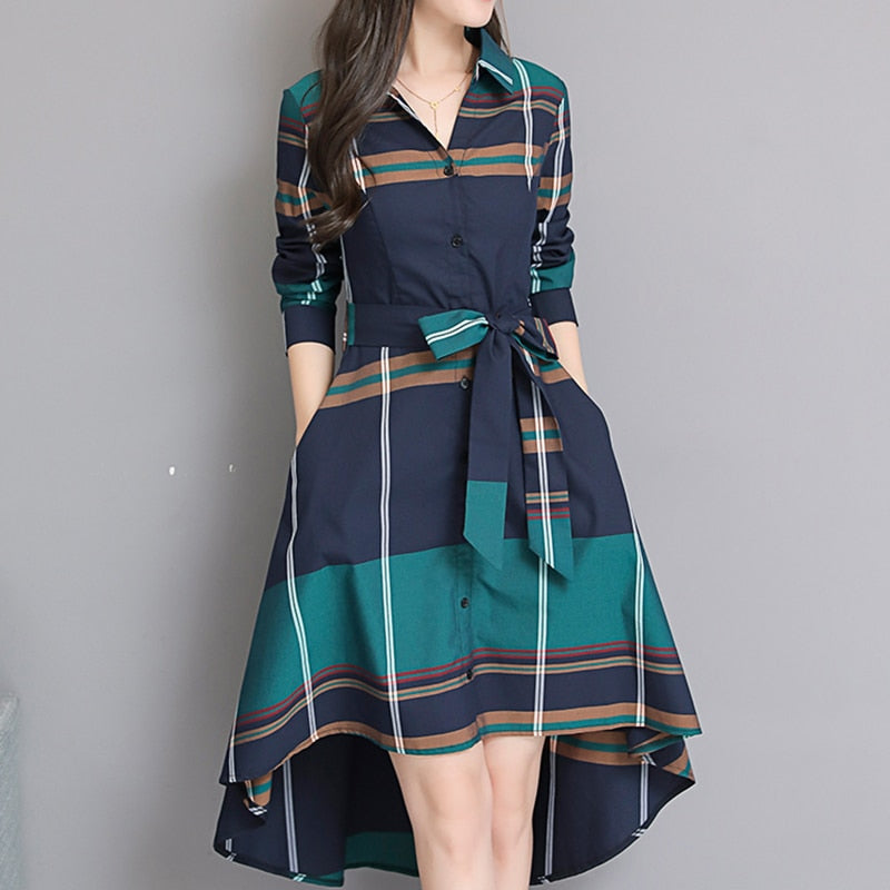 Vestido De Festa Autumn Elegant Asymmetrical Hem Dress Bodycon Long Sleeve Turn-down Collar Party Plaid Dresses Plus Size - LiveTrendsX