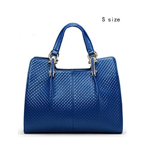 Blue Genuine Leather Women Bag Plaid Russia Famous Brand Quality Leather Handbags Quilted Fashion Ladies Hand Bags - LiveTrendsX