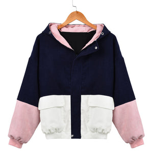 Harajuku Style Women Winter Warm Color Block Hooded Corduroy Jacket Long Sleeve Patchwork Oversize Zipper Jacket - LiveTrendsX