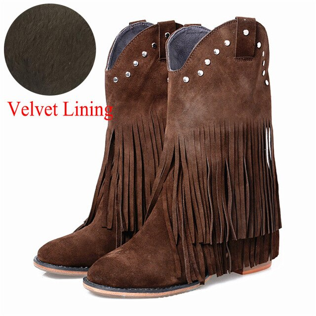 Full Fringed Women Mid-calf Boots Suede Tassels Chunky High Heel Boot Slip On Rivets Studded Rubber Riding Boots - LiveTrendsX