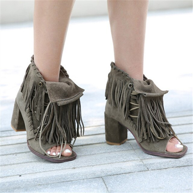 Full Fringed Women Ankle Boots Peep Toe Summer Boots Suede Chunky High Heels Tassels Lace Up Sandals Women Pumps - LiveTrendsX