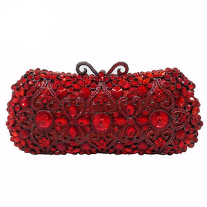 Red Ruby Crystal Diamond Women Metal Evening Clutches Bags Wedding Minaudiere Clutch Bridal Handbags Purses - LiveTrendsX