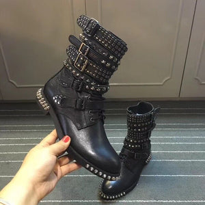 Women Black Genuine Leather Motorycycle Boots Studded Strapped Ankle Boots Punk Stylish Flats Winter Botas Mujer Spike Botines - LiveTrendsX