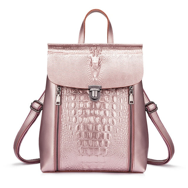 women backpack split leather high quality backpack for girl teenagers crocodile prints waterproof bag fashion style - LiveTrendsX