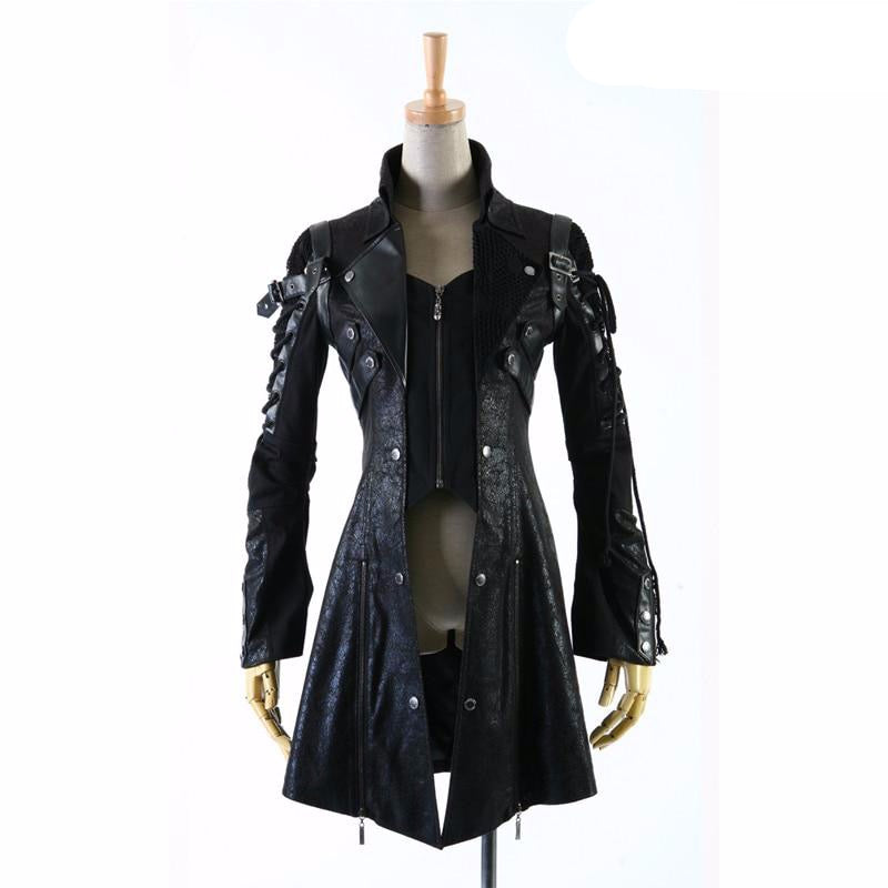 Gothic bandage cool HoodieLot Jacket Streampunk Man-made Leather Rock studded Draw string Cotton men Coat S-3XL - LiveTrendsX