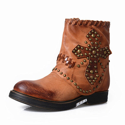 New Style Genuine Leather Rivets Cross Patchwork Motorcycle Boots Round Toe Zipper-Side Flat Women Short Boots - LiveTrendsX
