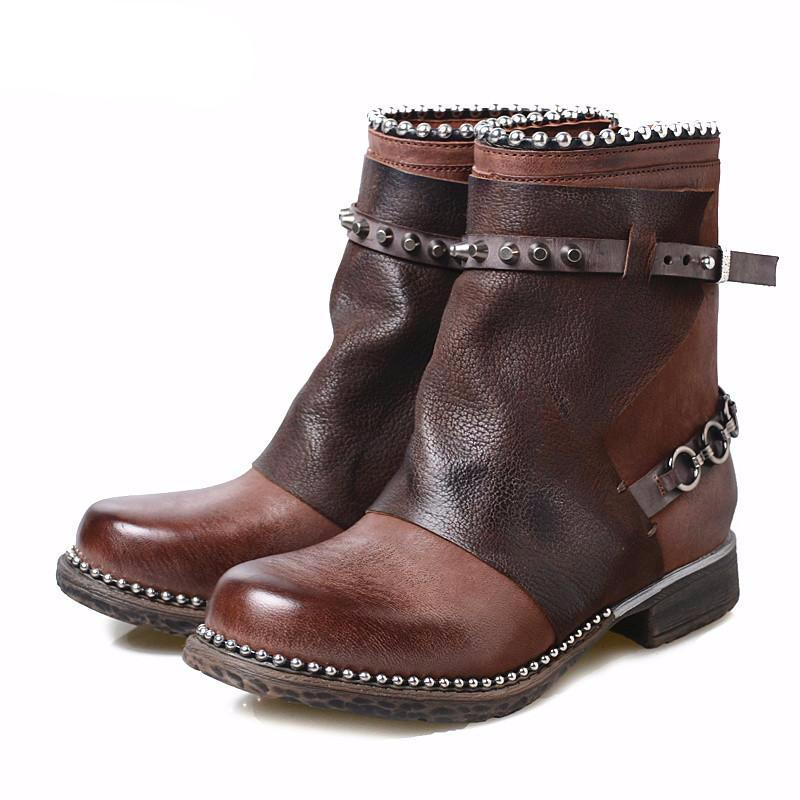 Women Handmade Leather Ankle Boots Side Zip Do Old Leather Retro Short Boots - LiveTrendsX