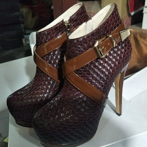 Fashion beautiful free shipping, black (brown) woven pattern PU, 14.5 cm high heel boots,ankle boots. SIZE:34-45 - LiveTrendsX