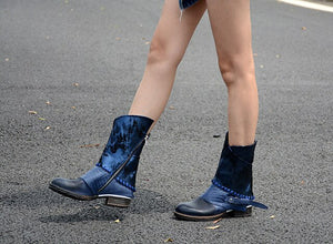 Women Winter Boots Genuine Leather Botas Feminino Buckle Strap Zapatos Mujer Side Zip Bottes Femmes Flats Knight Chaussure - LiveTrendsX