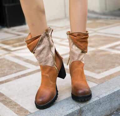 Brown Leather Lady Vintage Style Boots Rivets Zipper Decor Block Heel Bootie High Quality Chelsea Boots Female - LiveTrendsX